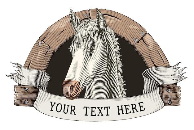 Pferdefarm logo handzeichnung vintage gravur stil clipart isoliert auf weiß Kostenlosen Vektoren