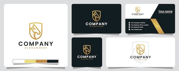 Pferdekopf, golden, schild, sport, logo design inspiration Premium Vektoren