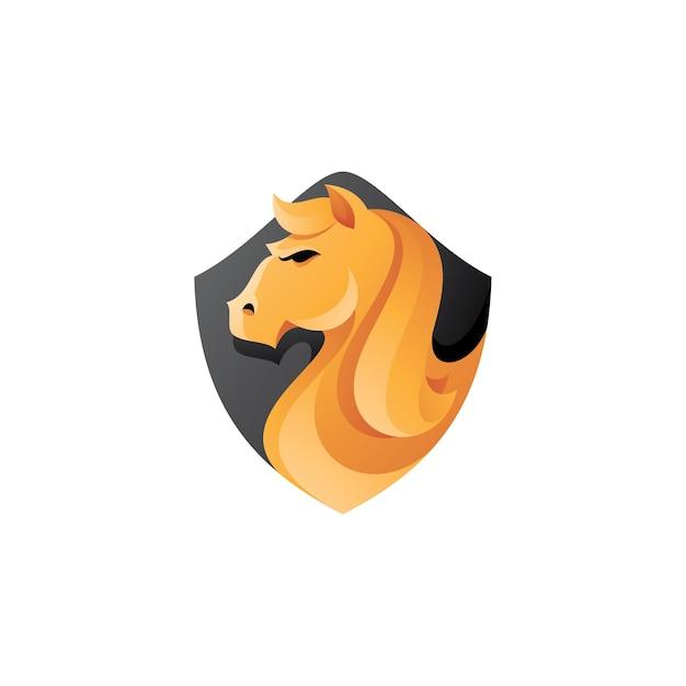Pferdekopf und schild maskottchen logo Premium Vektoren