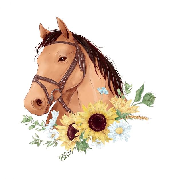 Pferdeporträt im digitalen aquarellstil und ein blumenstrauß von sonnenblumen und gänseblümchen Premium Vektoren