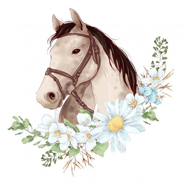 Pferdeporträt im digitalen aquarellstil und ein strauß gänseblümchen Premium Vektoren