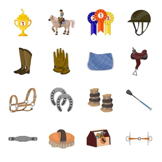Pferderennen cartoon-icon-set Premium Vektoren