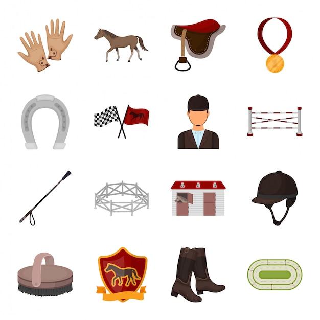 Pferderennen cartoon set symbol. lokalisierter gesetzter ikonenausrüstungsjockey der karikatur. abbildung pferderennen. Premium Vektoren