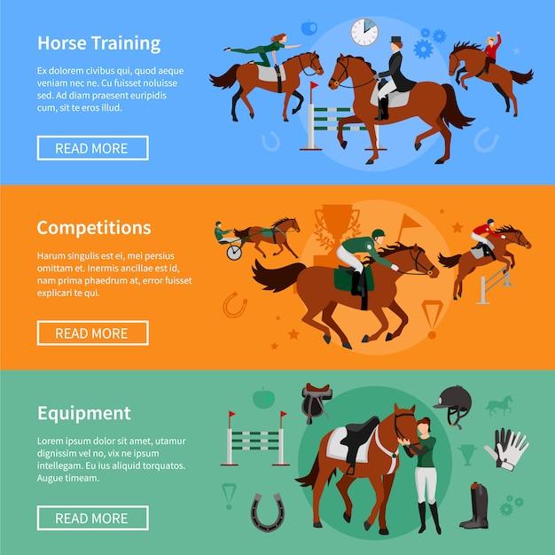 Pferdesport-banner mit munitionselementen und reitern, die im pferdetraining beschäftigt sind Kostenlosen Vektoren