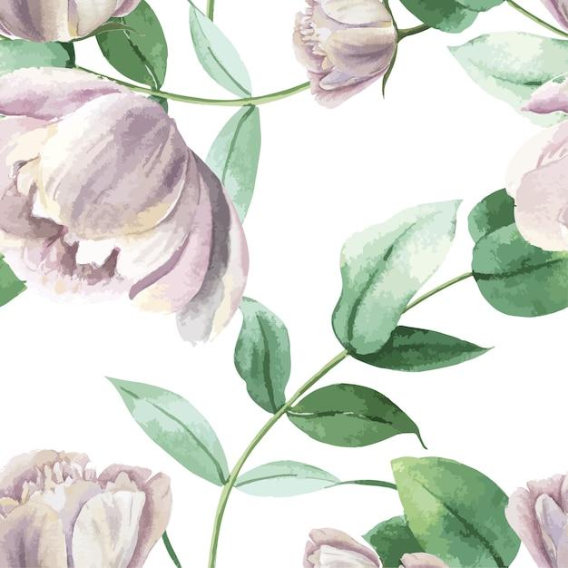 Pfingstrose blüht aquarell muster nahtloses botanisches aquarellart-weinlesmit blumengewebe Kostenlosen Vektoren