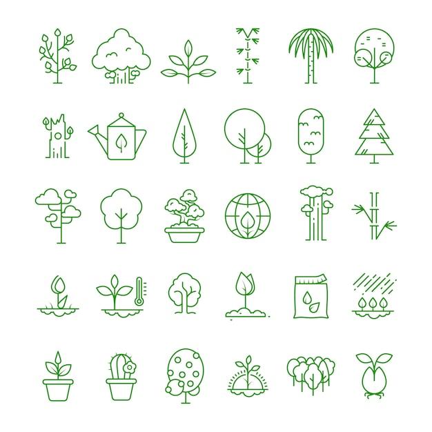 Pflanzen, pflanzen, samen und bäume linie symbole Premium Vektoren