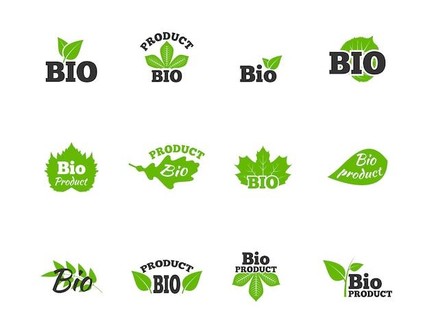 Pflanzen und bäume grüne blätter natürliche ökosphäre bio-produkte etiketten piktogramme sammlung flache abstrakte isoliert vektor-illustration Kostenlosen Vektoren