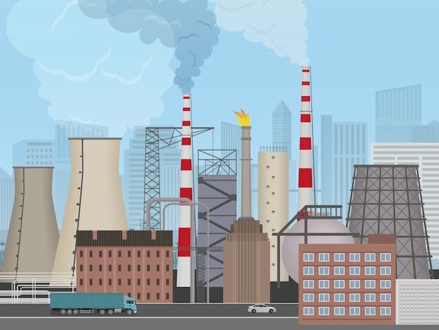 Pflanzenfabrik auf dem stadthintergrund Premium Vektoren