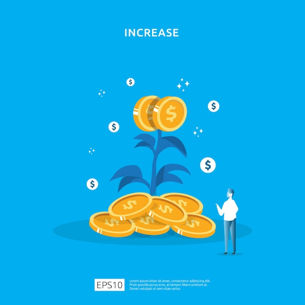 Pflanzengeld-münzbaumwachstumsillustration für investitionskonzept. Premium Vektoren