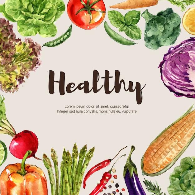 Pflanzliche aquarellfarbe sammlung. gesunde anzeigenillustration des organischen dekors des neuen lebensmittels Kostenlosen Vektoren