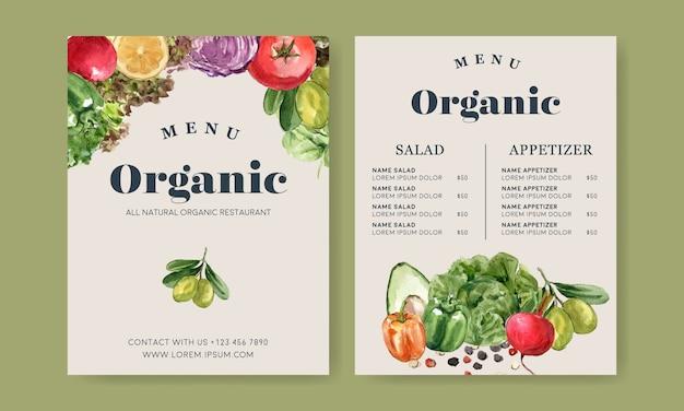 Pflanzliche aquarellfarbe sammlung. gesunde illustration des organischen menüs des neuen lebensmittels Kostenlosen Vektoren
