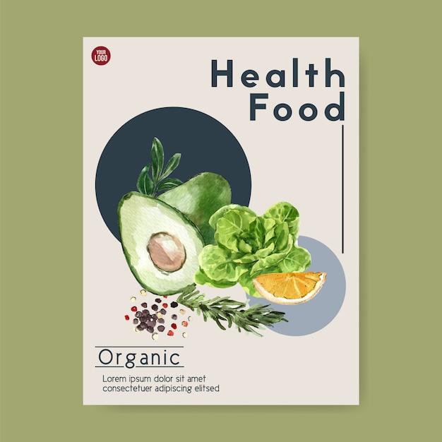 Pflanzliche aquarellfarbe sammlung. gesunde illustration des organischen plakatfliegers des neuen lebensmittels Kostenlosen Vektoren
