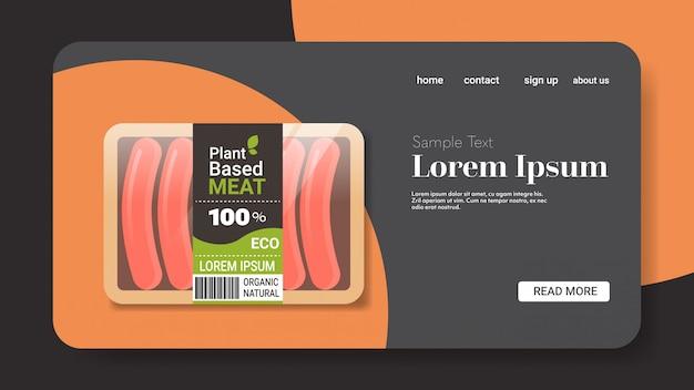 Pflanzliche vegetarische würste in verpackungen jenseits von fleisch bio natürliche vegane lebensmittel konzept horizontalen kopierraum Premium Vektoren