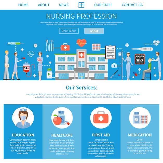 Pflegeberuf werbelayout Kostenlosen Vektoren