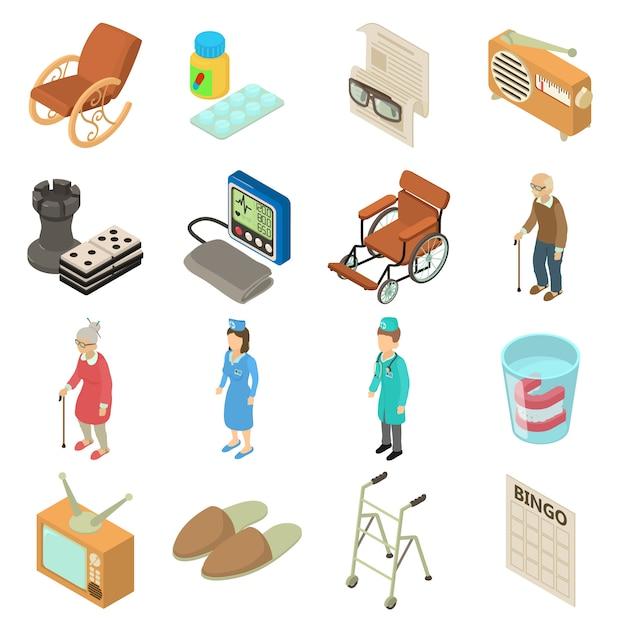 Pflegeheim-symbole festgelegt. isometrische illustration von 16 pflegeheimvektorikonen für netz Premium Vektoren