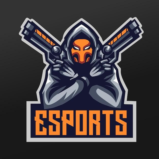 Phantom shooter maskottchen sport illustration design für logo esport gaming team squad Premium Vektoren