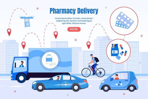 Pharmacy transportation company-webseite Premium Vektoren