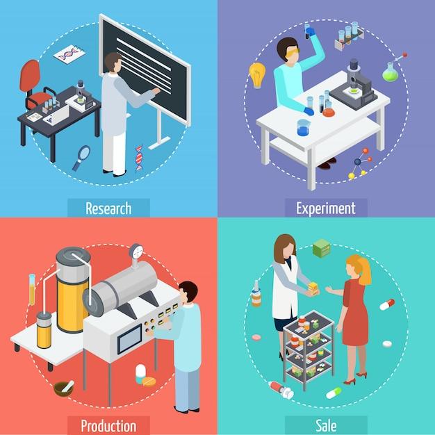 Pharmazeutische produktion 4 isometrische symbole Kostenlosen Vektoren