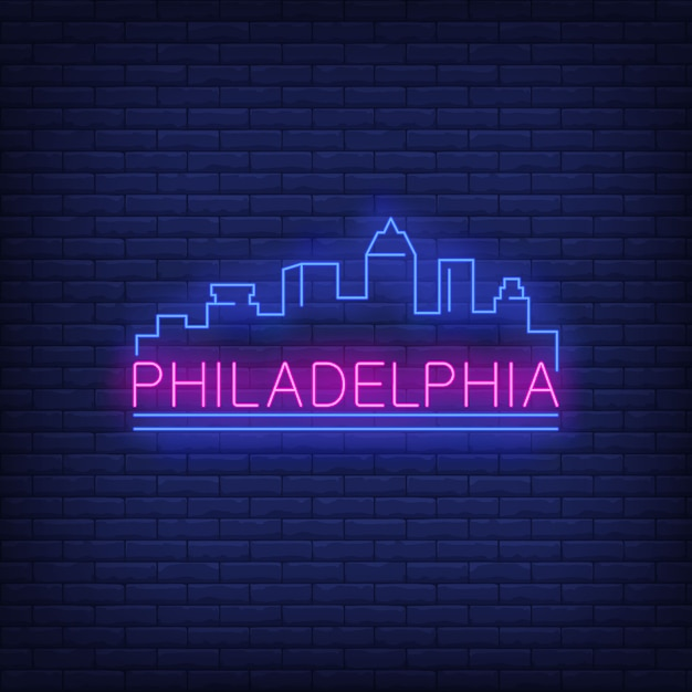 Philadelphia-neonbeschriftung und stadtgebäudeschattenbild. sightseeing, tourismus, reisen. Kostenlosen Vektoren