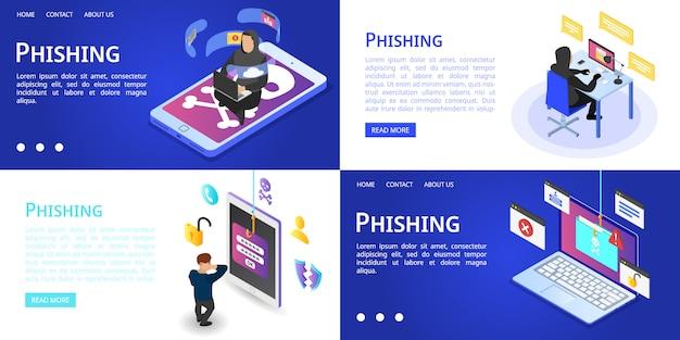 Phishing-banner gesetzt Premium Vektoren