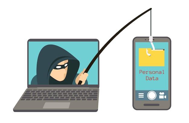 Phishing-betrug, hacker-angriff auf smartphone Premium Vektoren