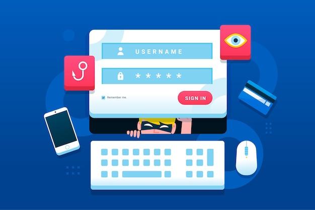 Phishing-konto-konzept Premium Vektoren