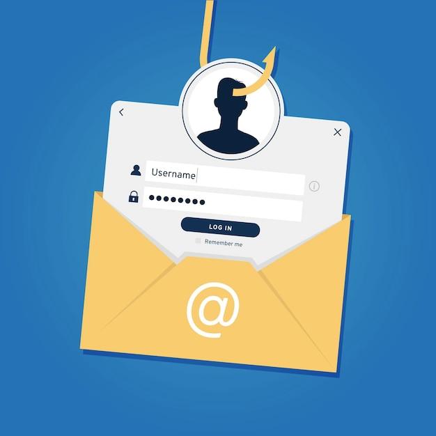 Phishing-konto und gefälschtes identitätskonzept Premium Vektoren