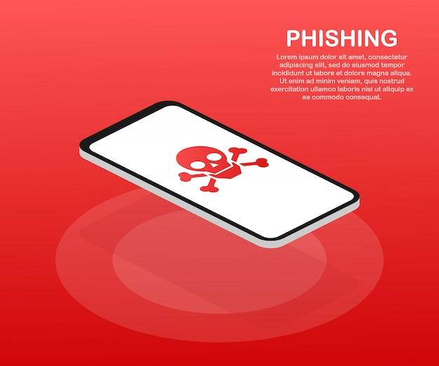 Phishing über isometrische vektorkonzeptillustration des internets. e-mail-spoofing oder angeln nachrichten. hacken Premium Vektoren