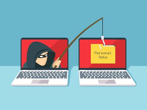 Phishingbetrug, hackerangriff und netzsicherheitsvektorkonzept Premium Vektoren