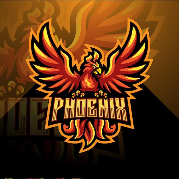 Phoenix esport maskottchen-logo Premium Vektoren
