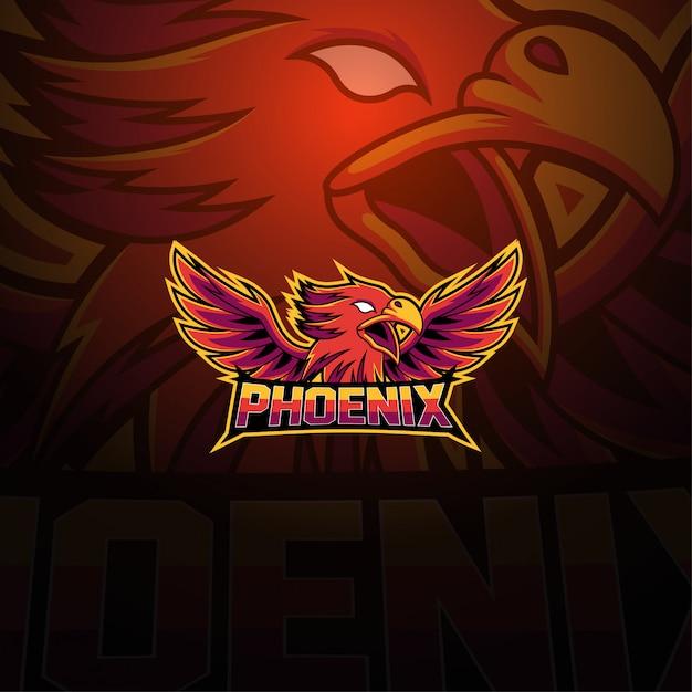 Phoenix esport maskottchen logo Premium Vektoren