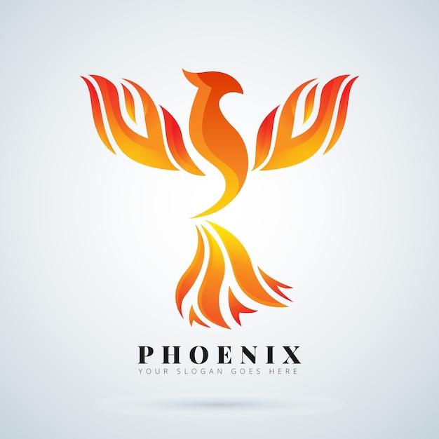 Phoenix logo symbol konzept Premium Vektoren