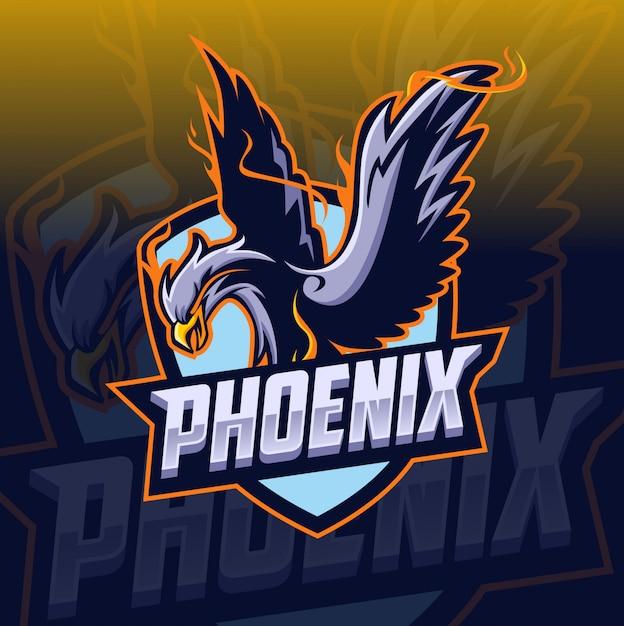 Phoenix maskottchen esport-logo Premium Vektoren