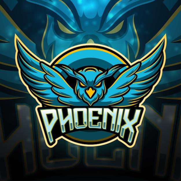 Phoenix sport maskottchen logo design Premium Vektoren