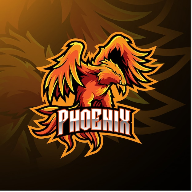 Phoenix-sportmaskottchenlogo Premium Vektoren