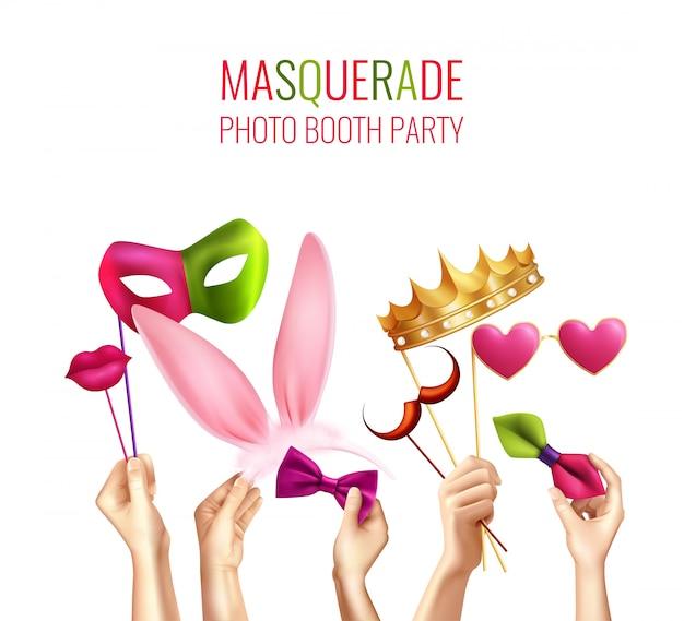 Photo booth party zusammensetzung Kostenlosen Vektoren