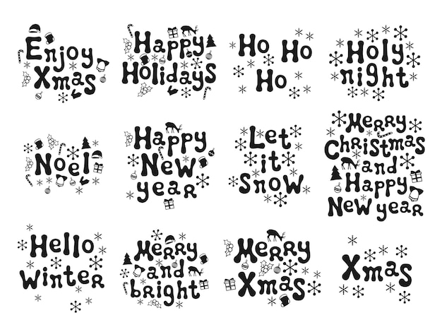 Phrasen für weihnachten und neujahr Premium Vektoren
