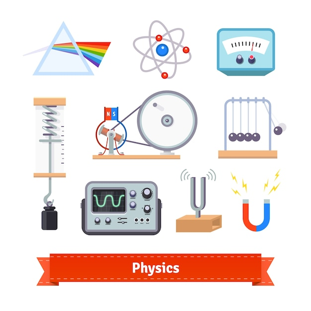 Physik klassenzimmer ausrüstung Kostenlosen Vektoren