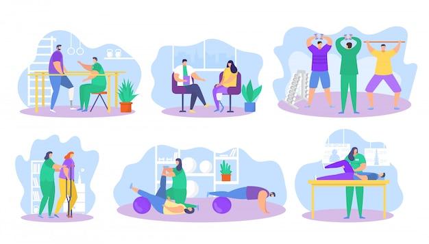 Physiotherapie-rehabilitationsunterstützungsillustration, karikatur-flacher patientencharakter auf physischen rehabilitations-therapieikonen Premium Vektoren