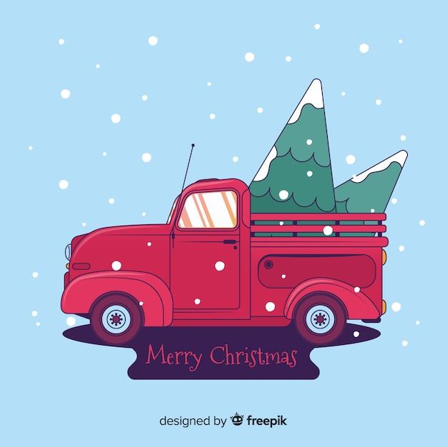 Pick-up lkw mit weihnachtsbaum Kostenlosen Vektoren