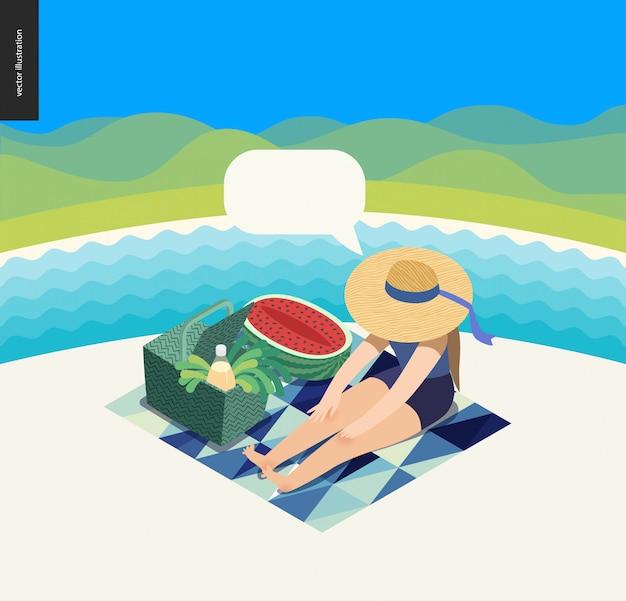 Picknick-bild Premium Vektoren