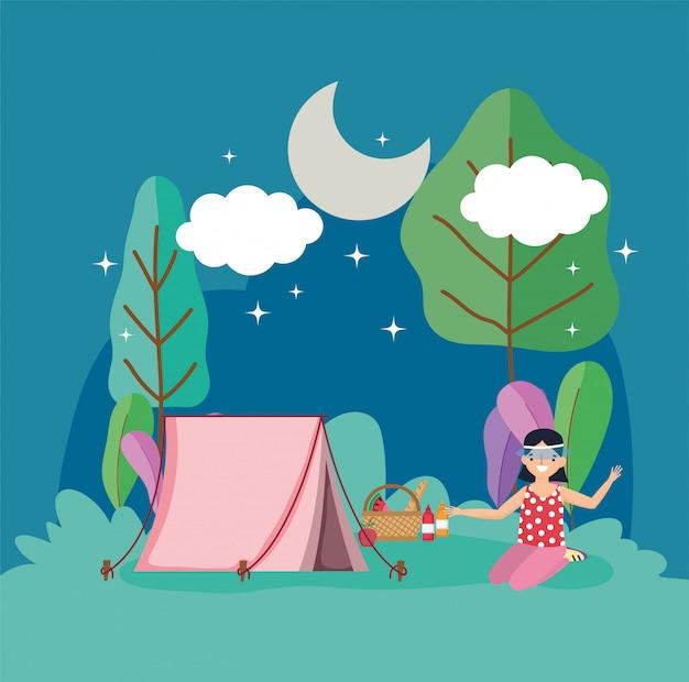 Picknick der jungen leute im park Premium Vektoren