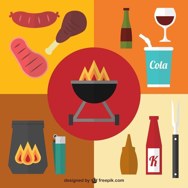 Picknick grill grafische elemente Kostenlosen Vektoren