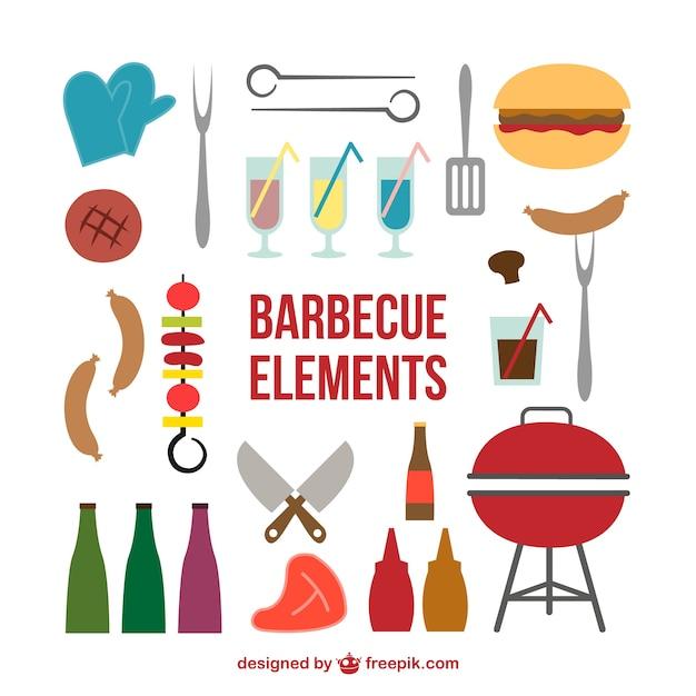 Picknick grill symbolen Kostenlosen Vektoren