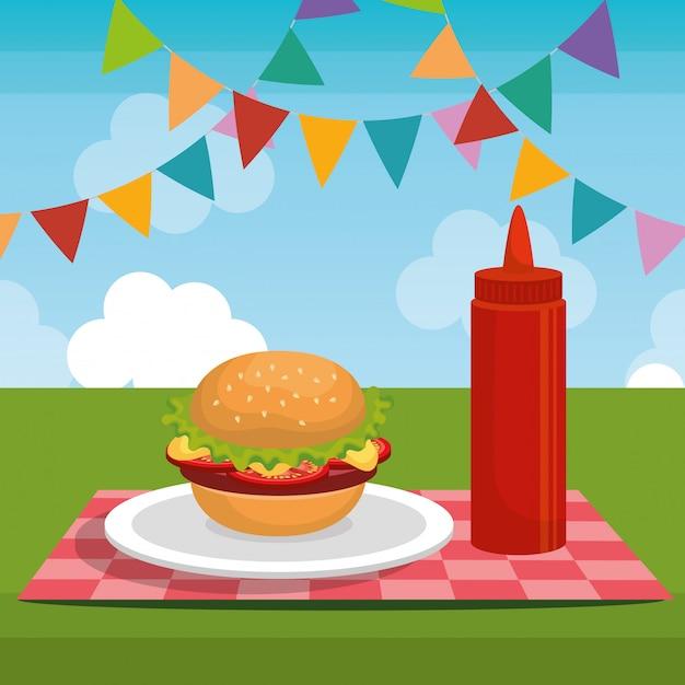 Picknick party feier szene Kostenlosen Vektoren