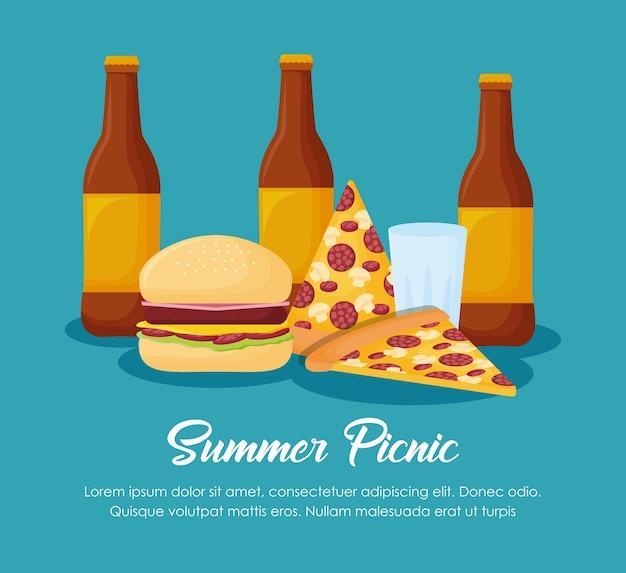 Picknick-sommer-design mit bierflaschen und pizzas auf blauem hintergrund, buntes design. vektor illu Premium Vektoren