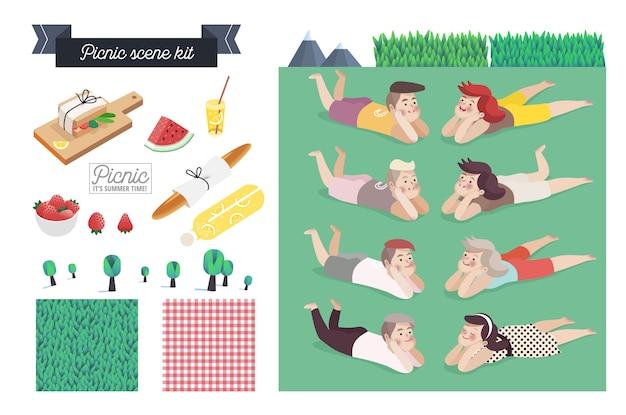 Picknick-szene-kit Premium Vektoren