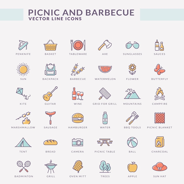 Picknick und grill farbigen umriss symbole. Premium Vektoren