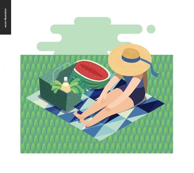Picknickillustration des mädchens sitzend im gras mit sonnenhut, picknickweidenkorb, limonade Premium Vektoren