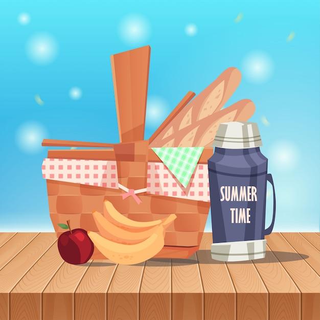Picknickkorb auf tabellen- und frühlingslandschaft Premium Vektoren